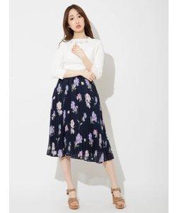 オリジナルフラワープリントプリーツスカート