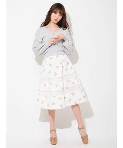 オーガンジー切替花柄スカート