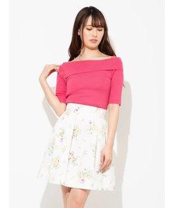 ブーケ花柄タックフレアスカート