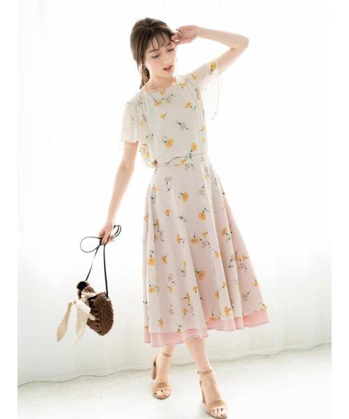 花柄×無地リバーシブルフレアスカート