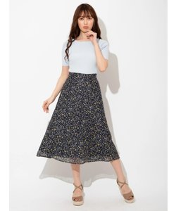 小花レースプリントフレアスカート