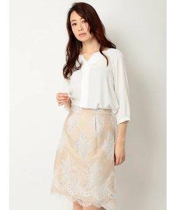 透かし配色レースタイトスカート