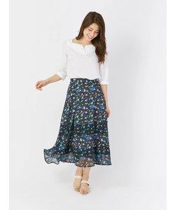 花柄裾シアー切替ミモレスカート