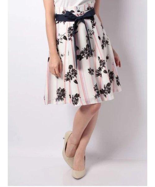 オリジナルストライプ花柄プリントスカート
