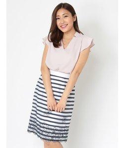 透けボーダーフラワー刺繍タイトスカート