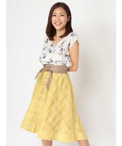 ベルト付シアーチェックテールカットスカート