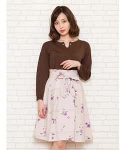 オリジナルラインチェック花柄スカート