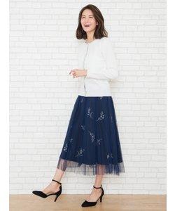 チュールプリーツ刺繍スカート