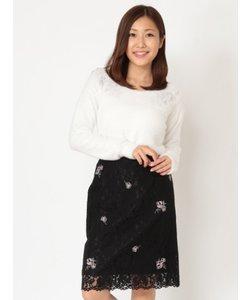 飛び柄刺繍レースタイトスカート