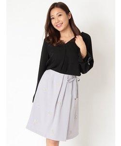 刺繍ラップタイトスカート