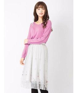 お花刺繍入りチュールスカート