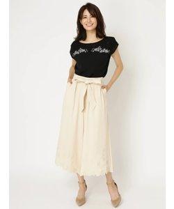 裾カッティング刺繍スカーチョ