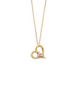 K10 イエローゴールド ダイヤモンド ハート ネックレス