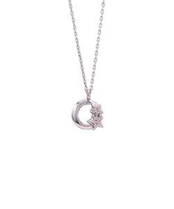 K10 ホワイトゴールド ダイヤモンド ムーン ネックレス