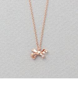 K10 ピンクゴールド ダイヤモンド リボン ネックレス