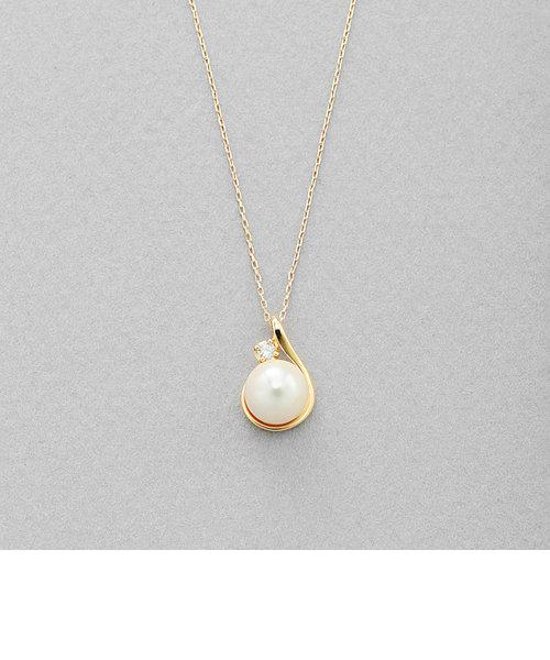 6月誕生石 K10 イエローゴールド あこや真珠 ネックレス