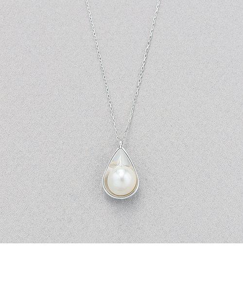 6月誕生石 K10 ホワイトゴールド あこや真珠 ネックレス