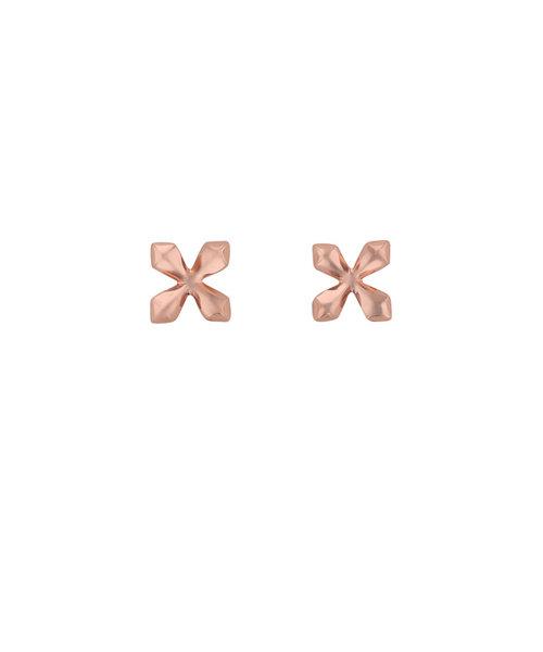 K18 ピンクゴールド クロス ピアス