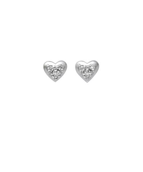 K18 ホワイトゴールド ダイヤモンド ハート ピアス