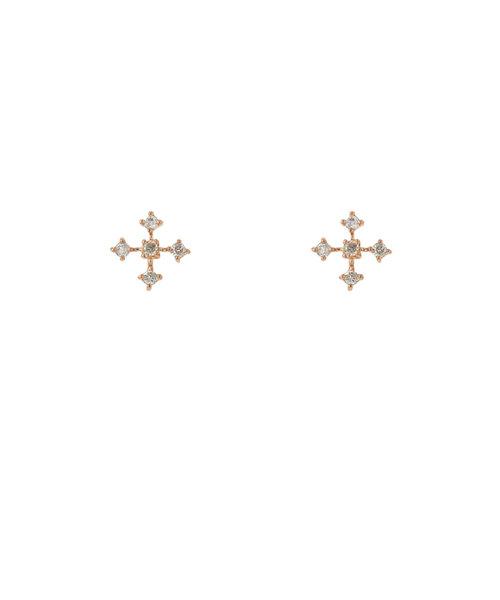 K10 ピンクゴールド ダイヤモンド クロス ピアス(トータル0.07ct)