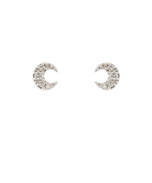 K10 ホワイトゴールド ダイヤモンド ムーン ピアス