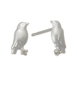 【外部モール用】ダイヤモンドK10 ホワイトゴールド鳥モチーフピアス