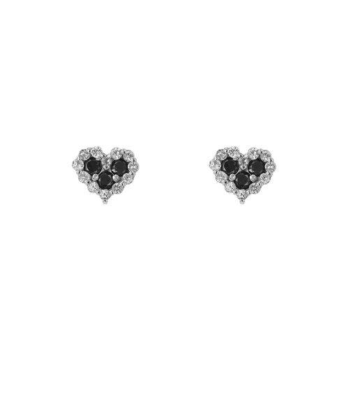 K10 ホワイトゴールド ブラックダイヤモンド ハート ピアス(0.2ct)