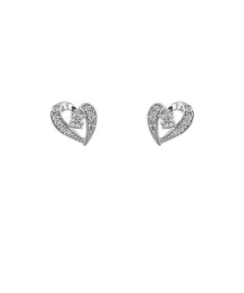 K18 ホワイトゴールド ダイヤモンド ハート ピアス(0.362ct)