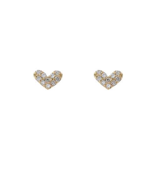 K18 イエローゴールド ダイヤモンド ハート ピアス(トータル0.118ct)