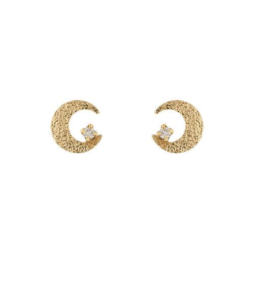 K10 イエローゴールド ダイヤモンド ムーン ピアス