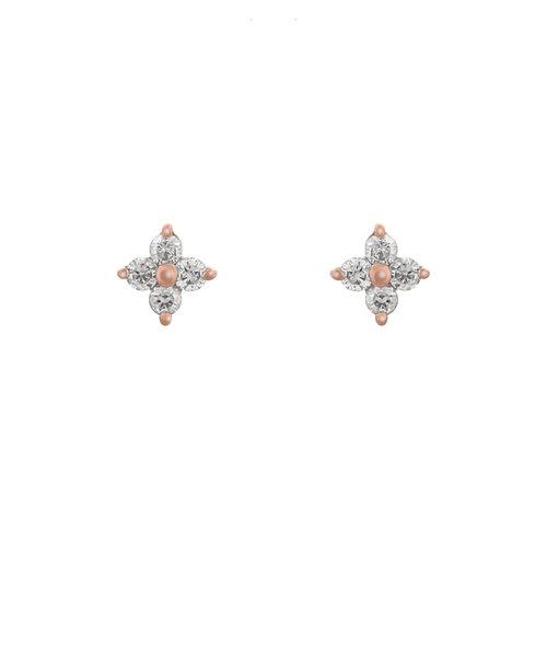 K18 ピンクゴールド ダイヤモンド フラワー ピアス