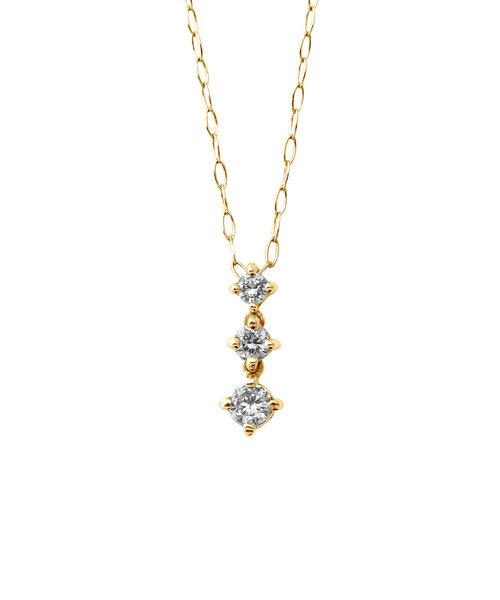 K10 イエローゴールド ダイヤモンド 3ストーン ネックレス(S)