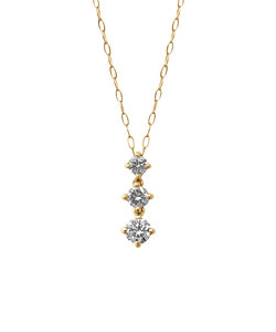 K10 イエローゴールド ダイヤモンド 3ストーン ネックレス(M)