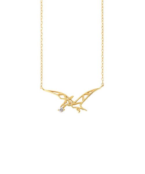 K10 イエローゴールド ダイヤモンド プテラノドン ネックレス