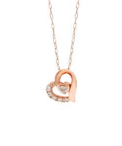K10 ピンクゴールド ダイヤモンド ハート ネックレス