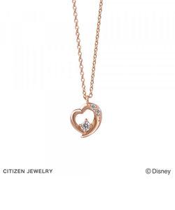 【ディズニー】 シンデレラ K10 ピンクゴールド ダイヤモンド ハート ネックレス
