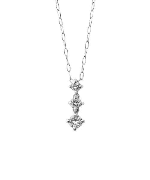 【ドラマ着用】K10 ホワイトゴールド ダイヤモンド 3ストーン ネックレス(S)