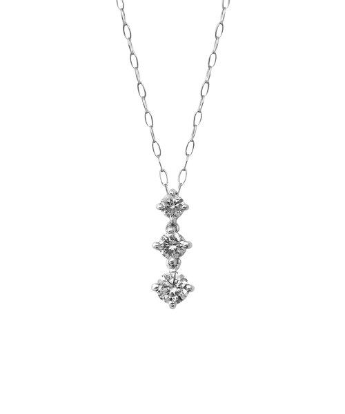 K10 ホワイトゴールド ダイヤモンド 3ストーン ネックレス(M)