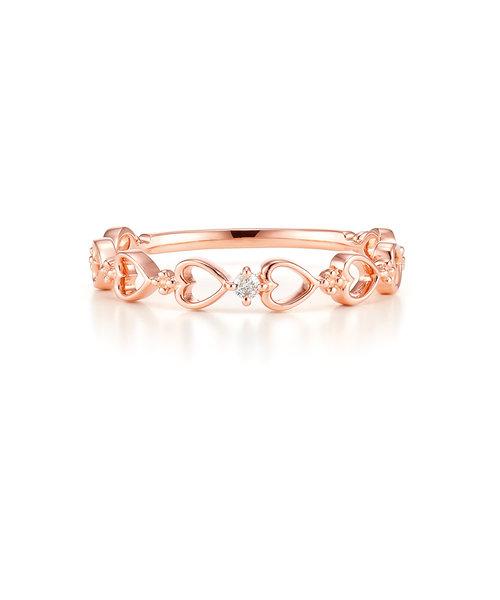 K10 ピンクゴールド ダイヤモンド ハート リング