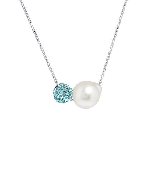 6月誕生石 シルバー ロジウムメッキ あこや真珠 ネックレス(グリーン)