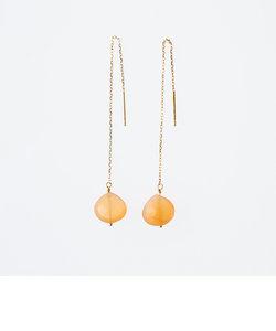【WEB限定商品】K10 イエローゴールド オレンジムーンストーン アメリカンピアス