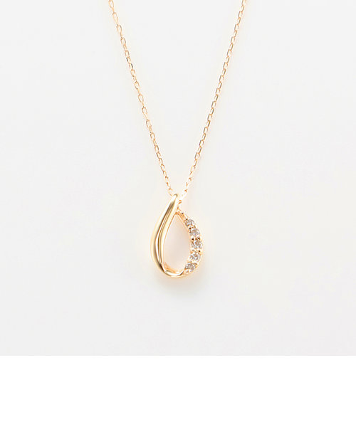 K10 イエローゴールド ダイヤモンド しずく ネックレス