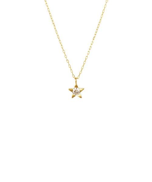 K18 イエローゴールド ダイヤモンド スター ネックレス