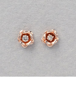 【&mall限定】K14 ピンクーゴールド ダイヤモンド フラワー ピアス