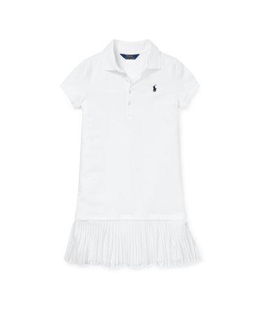 4d7613cc65b65 (ガールズ 7才~16才)プリーテッド メッシュ ポロ ドレス