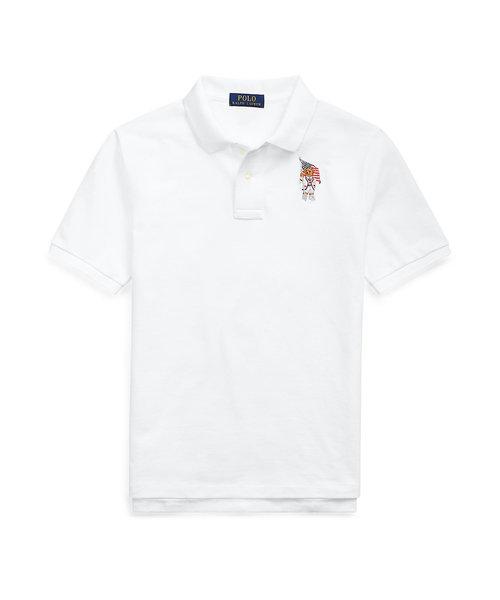 (ボーイズ 8才~20才)フラッグ ベア コットン メッシュ ポロシャツ