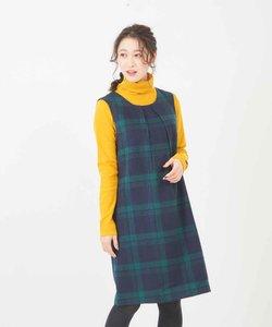WEB限定 ウールチェックジャンバースカート