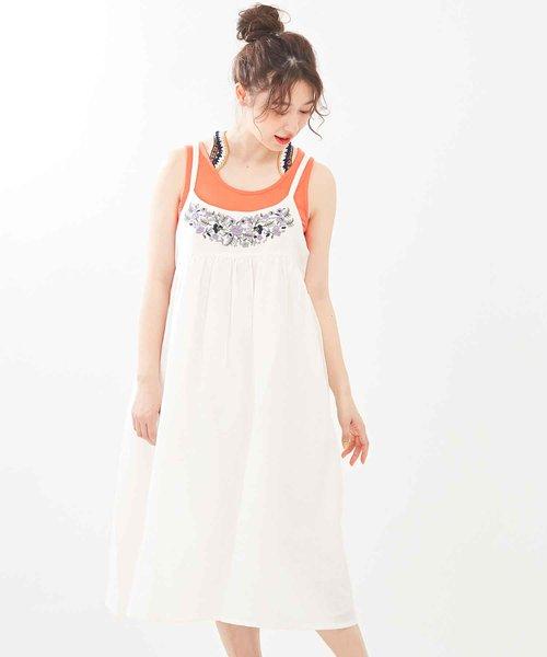 インド綿麻ヨコスラブ 花柄刺繍2WAYサロペットスカート