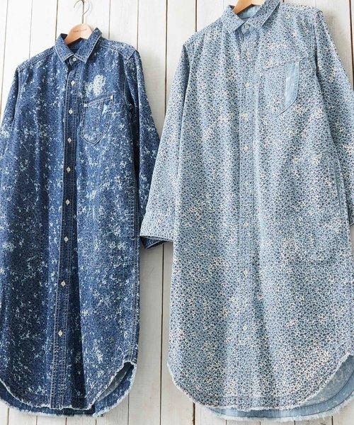 5.5オンスデニム×花プリント ワークシャツワンピース