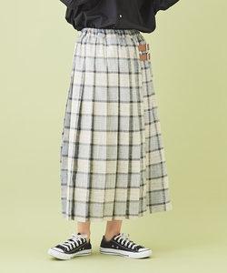 麻風 先染めチェック プリーツスカート